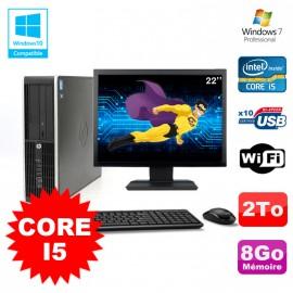"Lot PC HP Elite 8200 SFF Core I5 3.1GHz 8Go 2To DVD WIFI W7 + Ecran 22"""