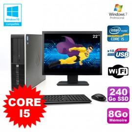 "Lot PC HP Elite 8200 SFF Core I5 3.1GHz 8Go 240Go DVD WIFI W7 + Ecran 22"""
