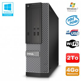 PC Dell Optiplex 3020 SFF Intel G3220 3GHz 4Go Disque 2To DVD Wifi W7