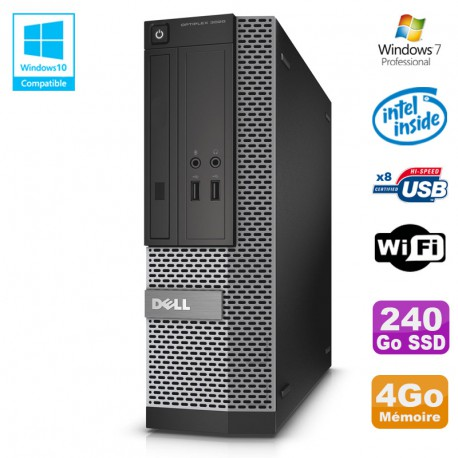 PC Dell Optiplex 3020 SFF Intel G3220 3GHz 4Go Disque 240Go SSD DVD Wifi W7