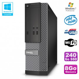 PC Dell Optiplex 3020 SFF Intel G3220 3GHz 8Go Disque 240Go SSD DVD Wifi W7