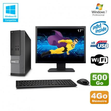 "Lot PC Dell Optiplex 3020 SFF Intel G3220 3GHz 4Go 500Go DVD Wifi W7 + Ecran 17"""