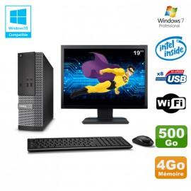 "Lot PC Dell Optiplex 3020 SFF Intel G3220 3GHz 4Go 500Go DVD Wifi W7 + Ecran 19"""