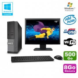 "Lot PC Dell Optiplex 3020 SFF Intel G3220 3GHz 8Go 500Go DVD Wifi W7 + Ecran 19"""