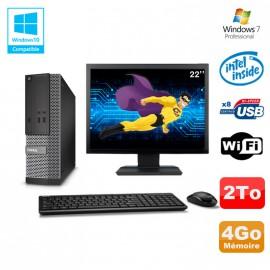 "Lot PC Dell Optiplex 3020 SFF Intel G3220 3GHz 4Go 2To DVD Wifi W7 + Ecran 22"""