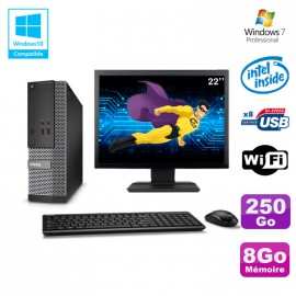 "Lot PC Dell Optiplex 3020 SFF Intel G3220 3GHz 8Go 250Go DVD Wifi W7 + Ecran 22"""