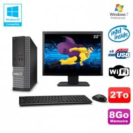 "Lot PC Dell Optiplex 3020 SFF Intel G3220 3GHz 8Go 2To DVD Wifi W7 + Ecran 22"""