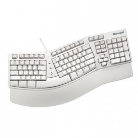Clavier Ergonomique Microsoft Natural Keyboard Elite PS2 Azerty Blanc 104 Touches