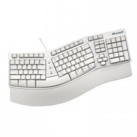 Clavier Ergonomique Microsoft Natural Keyboard Elite PS2 Azerty Blanc 104 Touches