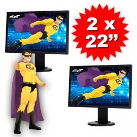 """Lot DUAL SCREEN 2 Ecrans PC Pro 22"""" NEC E222W-BK TFT TN VGA DVI Display VESA"""