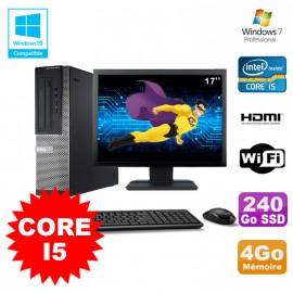 Lot PC DELL 3010 DT I5-3470 3.2Ghz 4Go 240Go SSD Graveur WIFI W7 + Ecran 17