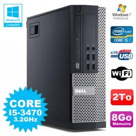 PC Dell 7010 SFF Core I5-3470 3.2GHz 8Go Disque 2000Go DVD Wifi W7