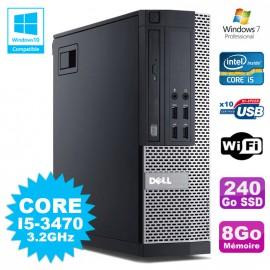 PC Dell 7010 SFF Core I5-3470 3.2GHz 8Go 240Go SSD DVD Wifi W7