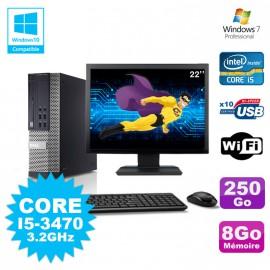 Lot PC Dell 7010 SFF Core I5-3470 3.2GHz 8Go 250Go DVD Wifi W7 + Ecran 22