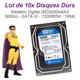 "Lot 10x Disques Durs 500Go SATA 3.5"" Western Digital Caviar Blue WD5000AAKX 16Mo"