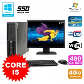 "Lot PC HP Elite 8200 SFF Core I5 3.1GHz 4Go 480Go DVD WIFI W7 + Ecran 22"""