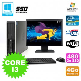 "Lot PC HP Elite 8200 SFF Core I3 3.1GHz 4Go 480Go DVD WIFI W7 + Ecran 22"""