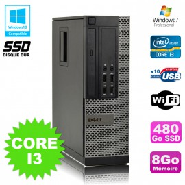 PC Dell Optiplex 7010 SFF Core I3 3.1GHz 8Go 480Go SSD DVD Wifi W7