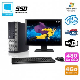 Lot PC DELL Optiplex 790 SFF Intel G2020 4Go 480Go SSD WIFI Win 7 + Ecran 22