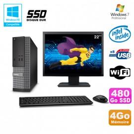 """Lot PC Dell Optiplex 3020 SFF G3220 3GHz 4Go 480Go SSD DVD Wifi W7 + Ecran 22"""""""