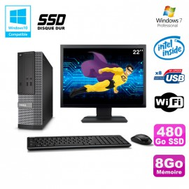Lot PC Dell Optiplex 3020 SFF Intel G3220 3GHz 8Go 480Go SSD DVD Wifi W7 + Ecran 22