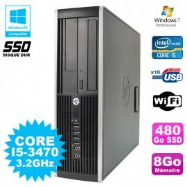 PC HP Elite 8300 SFF Core I5 3470 3.2GHz 8Go 480Go SSD Graveur USB3 Wifi W7