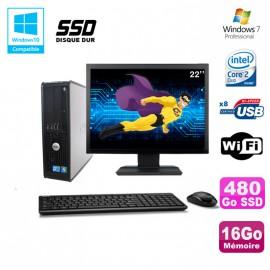 """Lot PC DELL Optiplex 780 Sff E7500 2,93Ghz 16Go DDR3 480Go SSD WIFI W7 Pro +22"""""""