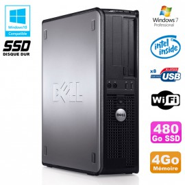 PC DELL Optiplex 760 DT Intel E8400 3Ghz 4Go DDR2 480Go SSD WIFI Win 7