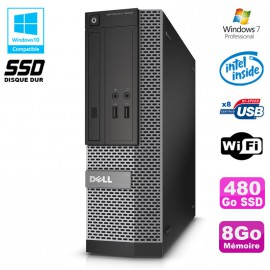 PC Dell Optiplex 3020 SFF Intel G3220 3GHz 8Go Disque 480Go SSD DVD Wifi W7