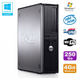 PC DELL Optiplex 780 DT Intel E5200 2,5Ghz 4Go Disque 250Go WIFI Win 7 Pro
