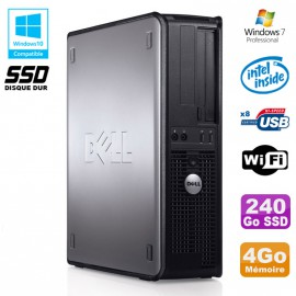 PC DELL Optiplex 780 DT Intel E5200 2,5Ghz 4Go 240Go SSD WIFI Win 7 Pro