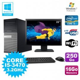 """Lot PC Tour Dell 790 Intel I5-3470 3.2Ghz 16Go 250Go DVD WIFI Win 7 + Ecran 22"""""""