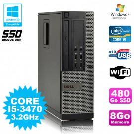 PC DELL Optiplex 790 SFF Core I5-3470 3.2Ghz 8Go Disque 480Go SSD WIFI W7 Pro