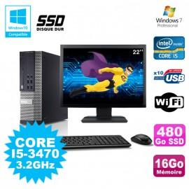 Lot PC DELL Optiplex 790 SFF Core I5-3470 3.2Ghz 16Go 480Go SSD WIFI W7 + Ecran 22