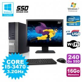 Lot PC DELL Optiplex 790 SFF Core I5-3470 3.2Ghz 16Go 240Go SSD WIFI W7 + Ecran 22
