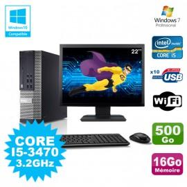 Lot PC DELL Optiplex 790 SFF Core I5-3470 3.2Ghz 16Go 500Go WIFI W7 + Ecran 22
