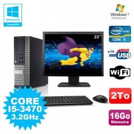 Lot PC DELL Optiplex 790 SFF Core I5-3470 3.2Ghz 16Go 2To WIFI W7 + Ecran 22