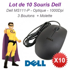 Lot 10x Souris Optique Filaire USB DELL MS111-P 011D3V 05Y2RG 093HTY 1000-DPI