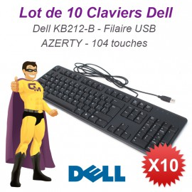 Lot 10x Claviers DELL KB212-B AZERTY USB Noir 04GK5K Pc Keyboard Kb Slim Fin