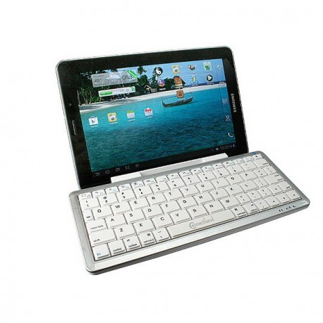 Mini Clavier Bluetooth Blanc Connectland Support for iPad Tablette PC Smartphone