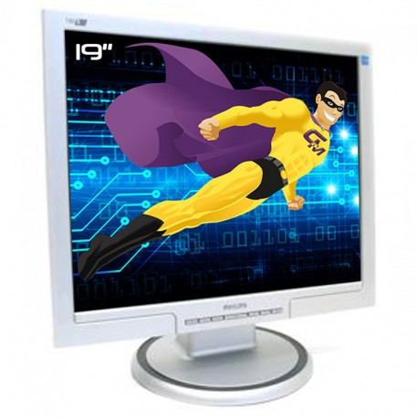 """Ecran PC Pro 19"""" PHILIPS 190S7FS HNS7190T LCD TFT VGA DVI VESA Widescreen Gris"""