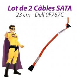 Lot x2 Câbles SATA 0F787C F787C DELL Optiplex 755 760 23cm orange