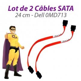 Lot x2 Câbles SATA 0MD713 MD713 DELL Optiplex 755 760 SFF 24cm orange