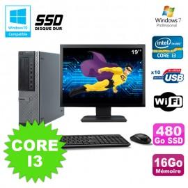 "Lot PC Dell 790 DT I3-2120 3.3Ghz 16Go 480Go SSD DVD WIFI Win 7 + Ecran 19"""
