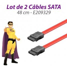 Lot x2 Câbles SATA E209329 26AWG 48cm Rouge