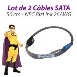 Lot x2 Câbles SATA NEC BizLink 6935060000 26AWG PowerMate VL350 50cm Gris