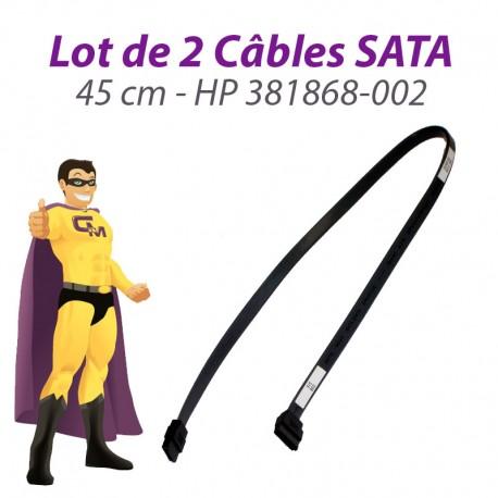 Lot x2 Câbles SATA HP 381868-002 DC5100S 7100 7700 SFF 5700UT 45cm Gris Foncé