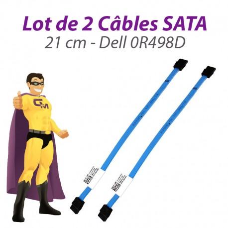 Lot 2 Câbles SATA Dell 0R498D OptiPlex 380 580 780 960 980 XE 21cm Bleu