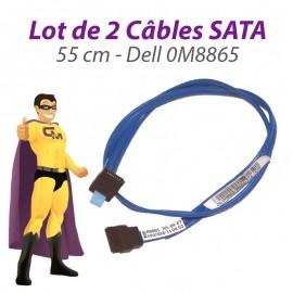 Lot 2 Câbles SATA Dell 0M8865 Optiplex 745 GX520 GX620 Dimension 9100 55cm Bleu
