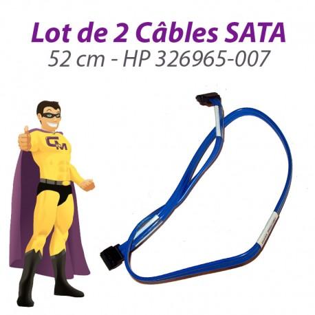 Lot 2 Câbles SATA HP 326965-007 52cm Bleu